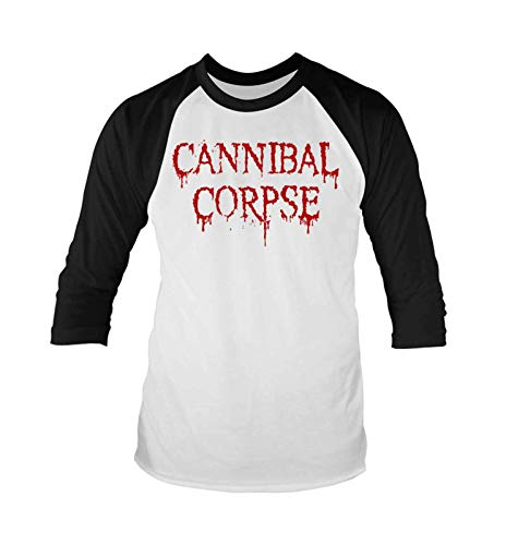 Cannibal Corpse T Shirt Dripping Logo Nue offiziell Herren Baseball 3/4 Sleeve (Corpse-t-shirt Cannibal)