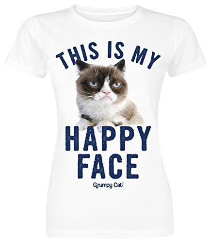 Grumpy Cat Happy Face Girl-Shirt Weiß S (Grumpy Girl)