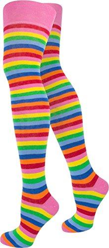 normani 1-10 Paar Damen Karneval Kostüm Fasching Baumwoll-Overknees Blickdicht Halterlose Strümpfe mit Streifen Farbe Bunt Größe 1 Paar