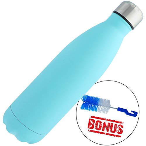 Stainless Steel Water Bottle + Bonus Cleaning Brush! Best for Cold or Hot Drinks. Hydro Vacuum seal with metal insulated double walled flask, BPA Free Warm for 12 Hours Cold for 24