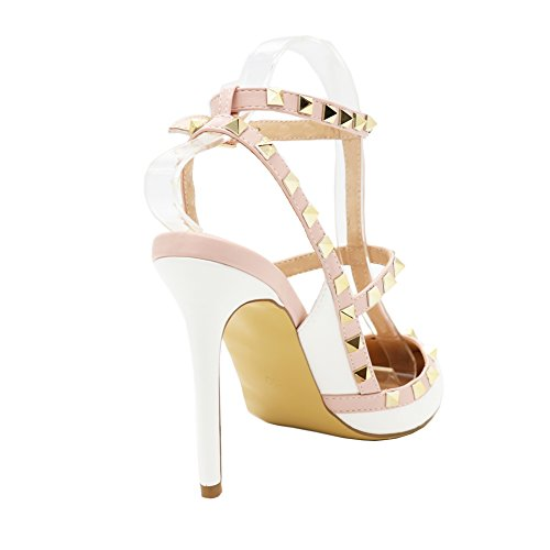 MERUMOTE Damen Y-112 Pointed Toe Thin Straps Pumps High Heels Nieten Kleid Sandalen EU 35-46 White-Lackleder