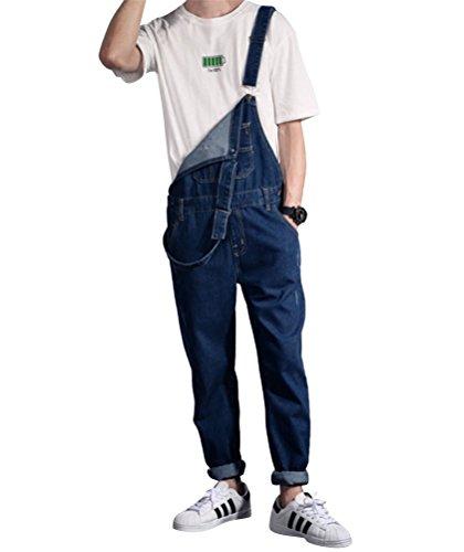 Brinny Fashion Herren Latzhosen Denim Loose Fit Stone-washed zerreißen Arbeitshosen Overall Jeans Long Asien: S-4XL Dunkelblau