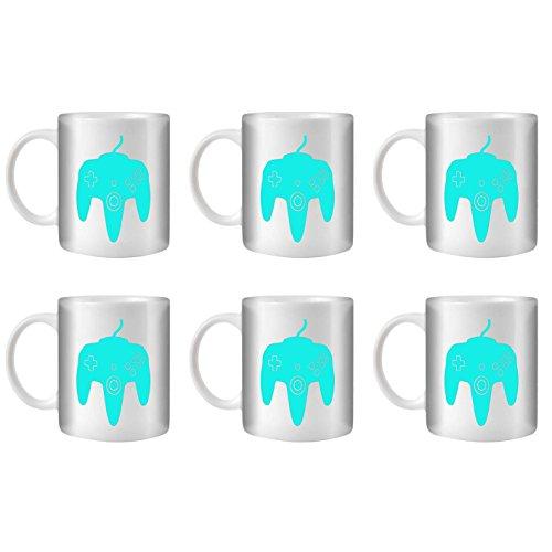 STUFF4 Tasse de Café/Thé 350ml/6 Pack Turquoise/N64/Céramique Blanche/ST10