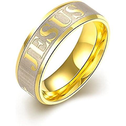 """Fansing Uomo Acciaio Inossidabile """"Jesus"""" Gesù Color Oro Anelli a Fascia"""
