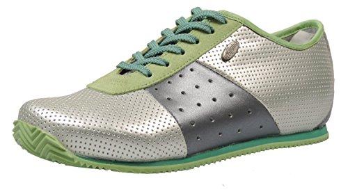 Papillio Calabria 248043 Sneaker Leder mit schmalem Fußbett Silber/Grün