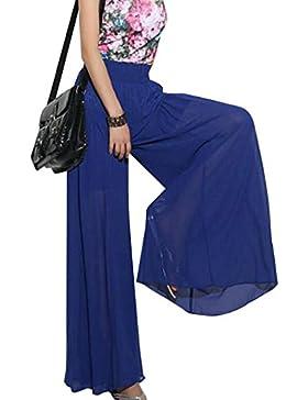CLOOM Pantaloni a vita bassa lunghi in vita da donna con ampia gamba in chiffon a vita alta