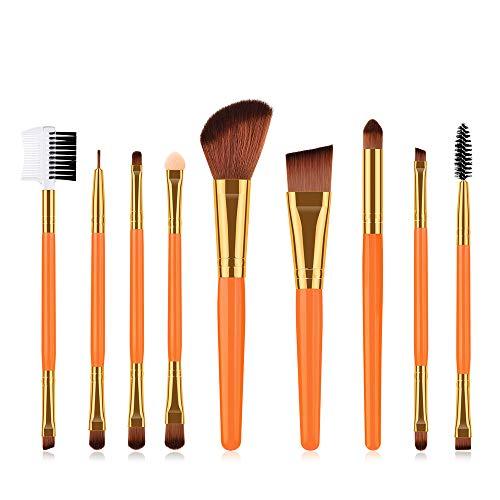 LEXUPE Le Maquillage cosmétique Jaune de 9PCS Brosse la Base de Poudre de Fard à paupières d'ombre à paupières de Base(Orange,34)