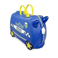 TRUNKI Ride On Valise a Roulettes Enfant Police Percy - 46x30x21 cm - Bleu et Jaune