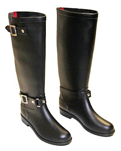 Bottes Haute Femme Cavalières Equitation PVC Pluie Tendance Pierre-cedric Noir