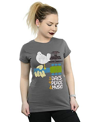Woodstock Damen Festival Poster T-Shirt Holzkohle Small -