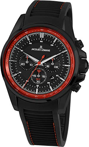 Jacques Lemans Liverpool Homme 44mm Bracelet Silicone Quartz Montre 1-1799T