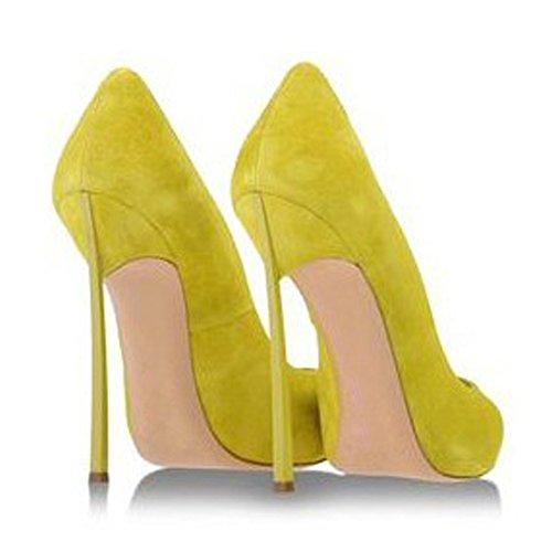 Damen Große Größe Pumps Spitze Zehen High-Heels Stiletto Rutsch Hochzeit Party Samt-Gelb