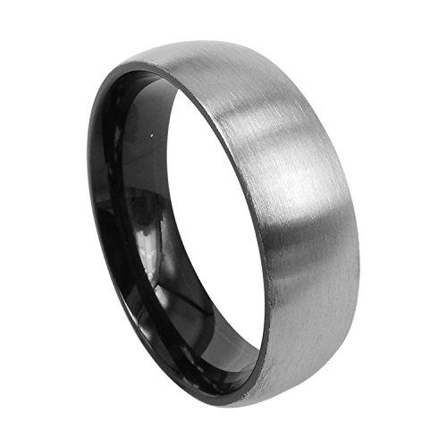 Everstone Damen-Ring Titan , Herren-Ring Titan , Freundschaftsringe , Hochzeitsringe , Eheringe, Mattiert rund Breite 7mm Größe 73 (23.2)