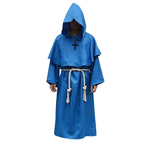 LOLANTA Herren Mönch Druide Cosplay Kostüm Mittelalter Mönch Renaissance Mönch Priester Robe mit - Renaissance Mönch Kostüm