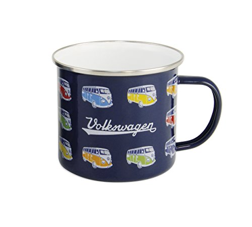 VW Collection by BRISA Kaffeebecher emailliert in Dunkelblau mit VW Bulli T1 Motiven