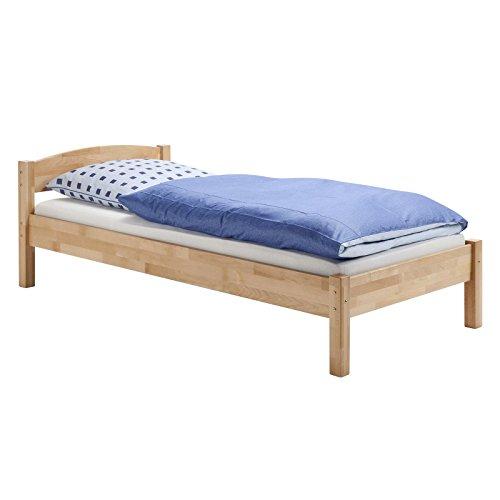 IDIMEX Einzelbett Jugendbett Bett Landhausbett JAN, Buche massiv, natur lackiert 100 x 200