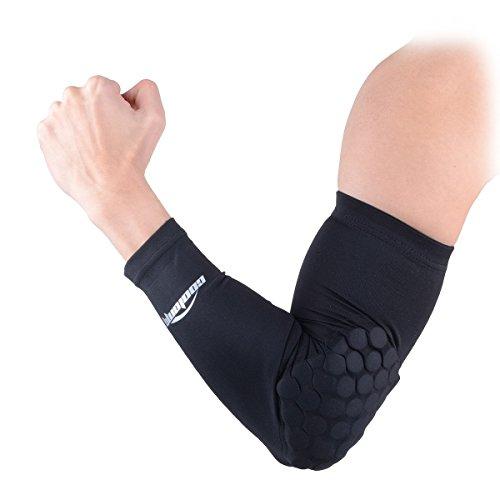 COOLOMG Ellenbogenschoner Armschoner Armlinge Pads Power Shootor Crashproof Basketball für Herren Damen 1 Paar Schwarz XS