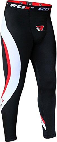 RDX Boxe Uomo Compressione Pantaloni Sudore Tazza Inguine MMA Termici Compression Pants Base Layer Tight Rosso