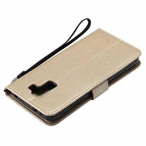 Custodia Huawei Honor 7i / Huawei Shot X Cover Case, Ougger Fortunato Foglia Stampa Portafoglio PU Pelle Magnetico Stand Morbido Silicone Flip Bumper Protettivo Gomma Shell Borsa Custodie con Slot per Oro