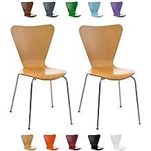 CLP 2 x silla apilable robusta y fácilmente de cuidar CALISTO, asiento de madera con forma ergonómica natural