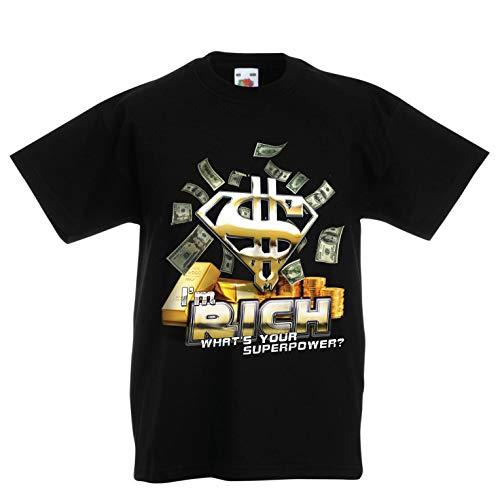 lepni.me Kinder Jungen/Mädchen T-Shirt Ich Bin reich was ist Deine Supermacht, USD Superheld (3-4 Years Schwarz Mehrfarben)
