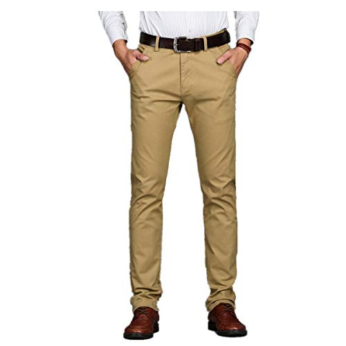 Xiangdanful Herren Anzughose,Stoffhose Business-Hose,Straight Leg,Stretch,Slim Fit,Solid,Schmale,Herren Smokinghosen Freizeithose Blazer Hose Chino Hose Männer Work Pants (29, Khaki)