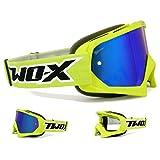 TWO-X Race Crossbrille neon gelb Glas verspiegelt blau MX Brille Motocross Enduro Spiegelglas Motorradbrille Anti Scratch MX Schutzbrille