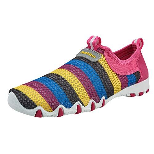 Alaso Chaussures Femme Espadrillas da donna, piatte, a righe, casual, piatte, scarpe da guida comode rosa acceso 44