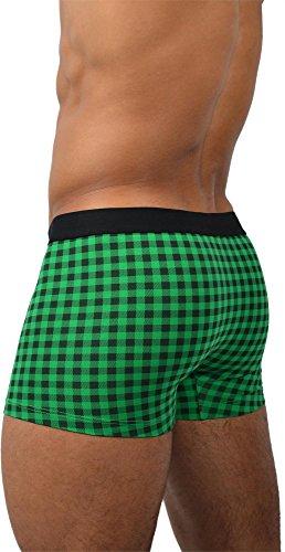 6 x normani® Herren Style Boxershorts aus Baumwolle mit Elasthan im 6er Pack Green Check