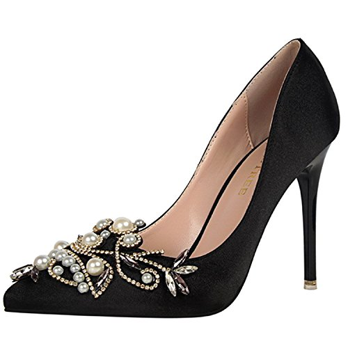 Azbro Women's Pointed Toe Rhinestone Pearls Slip on Stiletto Pumps Black