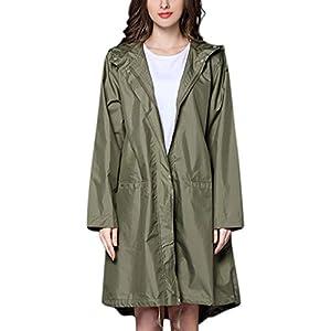 Oasics Damen Outdoorjacke Mantel Lange Wasserdichte Windjacke Regenjacke Jacke M-XL