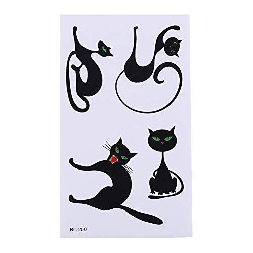 FCTGY 1 Blatt Nette Katze Temporäre Tätowierung Aufkleber Sweet Home Cat Kinder Flash Tattoo Paste Wasserdicht Tatoo Kind