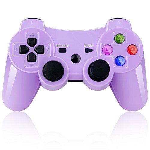 Bluetooth Wireless Controller para mando PS3doble boca Gamepad & mando para PlayStation 3Bonus sin cable de carga (morado)