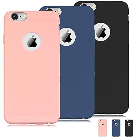 "[3 pièces] Coque iPhone 6S (4.7""),iPhone 6 Coque Housse Etui Premium Flexible TPU Souple Silicone Ultra Mince Ultra Lége [Anti - Rayures] [Anti - dérapante] [Anti - Choc] Gel Housse Pare-chocs Protection Coque pour iPhone 6 / 6S (4.7"") - Rose + Bleu + Noir"