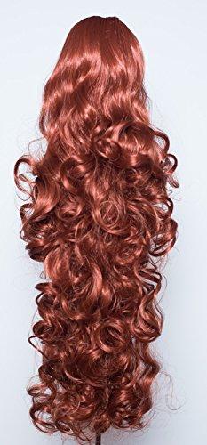 Elegant Hair - 56 cm / 22 pouces queue de cheval frisé – Gingembre rouge doré #130 - Clip-in pièce de extensions de cheveux réversible - Avec griffe-clip - 30 Couleurs - 250g