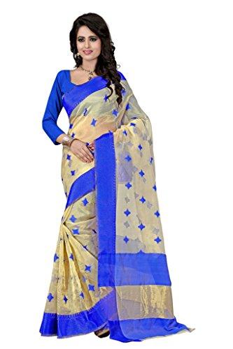 Shree Sanskruti Organza Saree (Kavya 3 Blue_Beige And Blue)