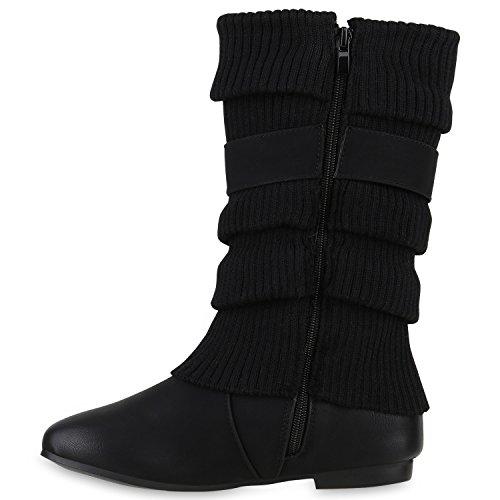 Gefütterte Klassische Damen Stiefel Stulpen Strass Blockabsatz Schwarz Schwarz