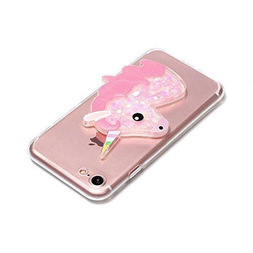 Cover iPhone 7 Plus 8 Plus Unicorno, E-Unicorn Custodia Cover Apple iPhone 7 Plus 8 Plus Brillantini Glitter 3D Rosa Unicorno Liquido Trasparente con Disegni Cristallo di Bling Silicone Ultra Sottile  Rosa