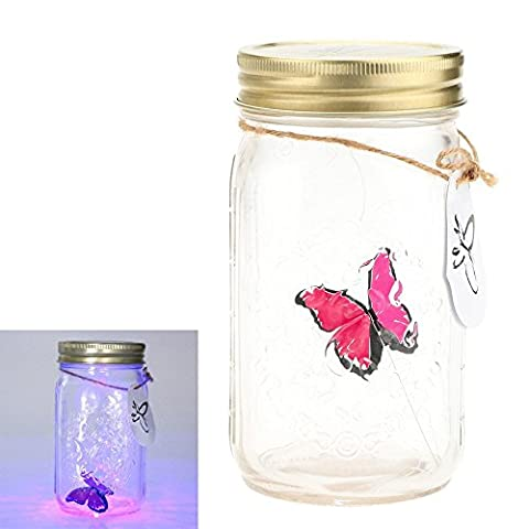 Gearmax® Romantic Glass LED Lamp Butterfly Jar Valentine Children Gift