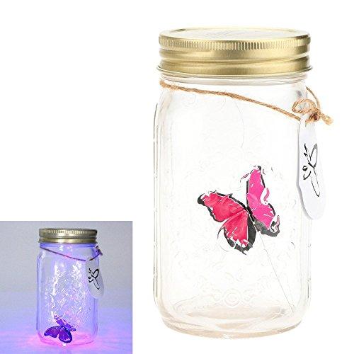 Gearmax® 1 pieza LED romántico lámparas de cristal de cristal de la mariposa / del tanque de la mariposa Botella de San Valentín decoración regalo de los niños(Rosa)