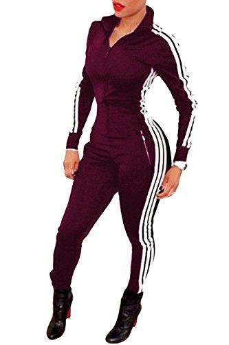 Tomwell Damen Jumpsuit Sport Jogging Anzug Trainingsanzug Overall Lange Ärmel Reißverschluss Bodycon Romper Weinrot DE 42 (Damen Anzug Design)