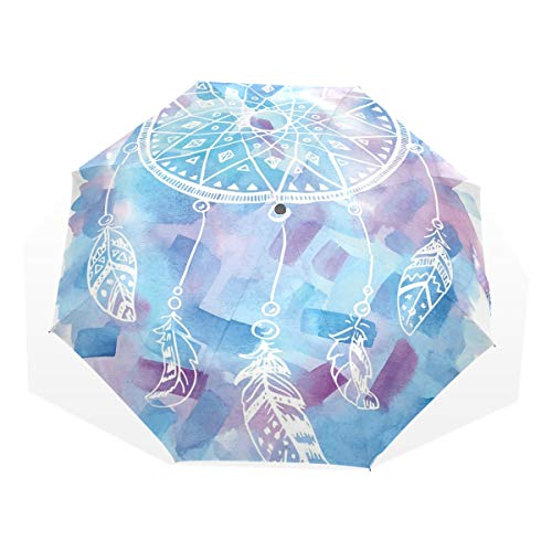 Lasinsu mini ombrello portatile pieghevoli ombrello tascabile,acchiappasogni astratti con pennellate artistiche del fondo dell'acquerello,antivento leggero ombrello per donna