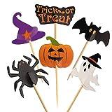 Pepito 60 Piezas Halloween Cupcake Topper Palillo de Halloween Banderas Marcadores para la Fiesta de Halloween Pastel de Queso Plato de Aperitivos Decoración