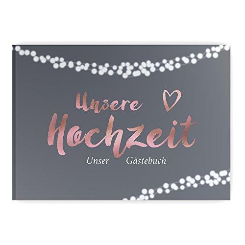 bigdaygraphix Gästebuch Hochzeit ohne Fragen Hochzeitsgästebuch weiße Seiten Twinkle Rose grau Rosegold Hardcover Grau Rose