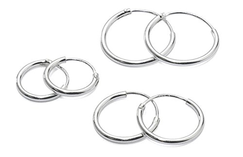 3 Pairs Sterling Silver Small Endless Hoop Earrings for Cartilage, Nose or Lips, 10mm 12mm 14mm