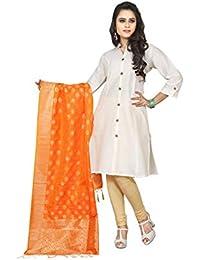 Sugathari Jacquard Tussar Silk Embellished Woven Orange And Gold Color Dupatta(Dupatta 5 Orange)