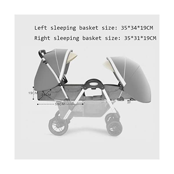 Pushchairs Twins Baby Stroller Fold Babys Newborn Double Face to Face Trolley Reclining Can Sit and Folding Baby Pram Prams (Color : Blue) YC electronics Connect Tandem Pushchair. Rear seat is suitable for new-borns as it features full lie flat mechanism, whereas the 2-position recline seat at the front is suitable for babies over 6 months. Convenient one-hand standing fold, featuring an automatic storage latch that folds effortlessly, Maximum weight capacity is 25 Kg. 5