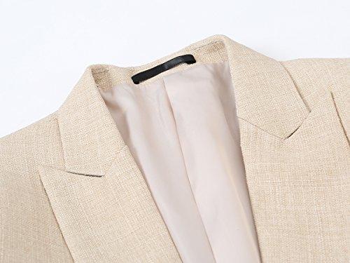 1 Knopf Herren Anzug 3 Teilig Leinen Hochzeitsanzug Regular Fit Business Hochzeit Beige