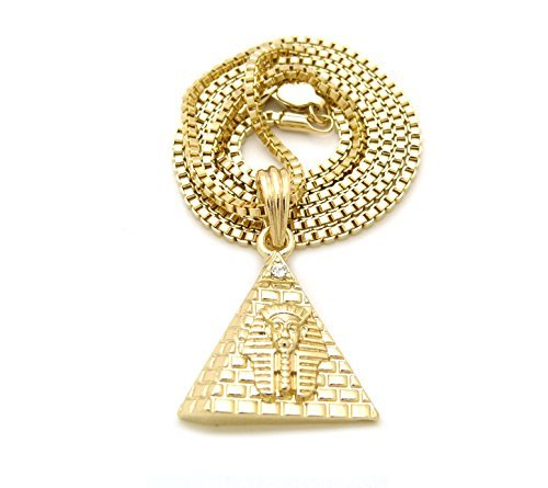 egiziano micro King Pharaoh piramide ciondolo 45,7cm 50,8cm 61cm 27vari collana in oro, Lega, cod. BJN27GXGP