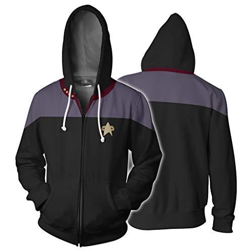 Kapuzen Xl Sweatshirt Jersey (Versacec Herren Kapuzenpullover Star Trek 3D bedruckter Kapuzenpullover Reißverschluss-Jersey Lässiger Hoodie Outdoor-Sweatshirt,A,XL)